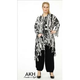 Lagenlook Tunika grau gezackt AKH Fashion
