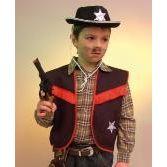 Cowboy Weste schwarz - Sheriff - mit rotem Bruststreifen - Gr. 116
