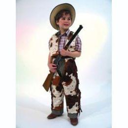 Cowboy Anzug- Kostüm - Kinderkostüm mit Kuhflecken Buffalo - Gr. 128/140
