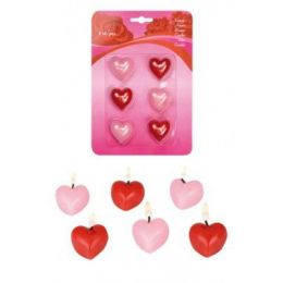 Kerzen in Herzform - Herz-Kerzen - 6 Stück - rot rosa