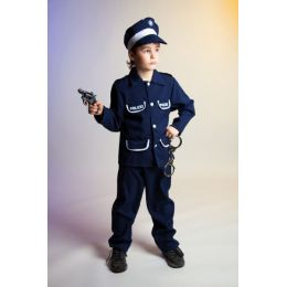 Polizeianzug für Kinder - Hose, Jacke, Kappe - Karneval/Fasching