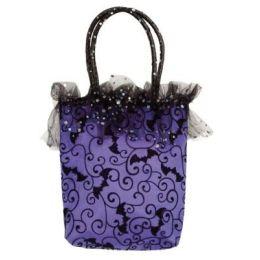 Handtasche lila mit schwarzem Muster - ca. 33 x 26 cm