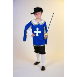 Musketier blau - Kinderkostüm - komplett - Gr. 116/128 - Karneval Fasching