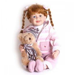 Puppe - Jasmin mit Teddy - Spielzeugpuppe aus Vinyl - Zopfpuppe