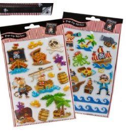 Piraten Sticker - 2 Sorten - mit 3D Effekt - auf Karte ca. 38 x 15 cm