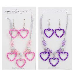 Schmuckset - Kette und Ohrringe mit Herzen - rosa oder lila