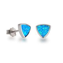 Ohrstecker türkis hellblau aus rhodinierten Silber und synthetischen Opal
