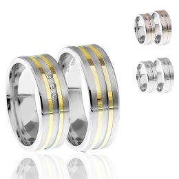 925 Silber Ringpaar rhodiniert mit Glanzrillen in Silber oder in verschiedener Vergoldung
