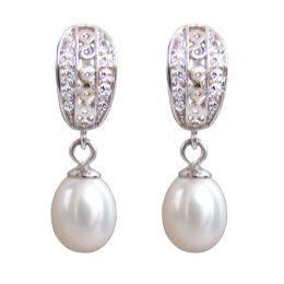 Perlenohrringe mit Creolen aus 925 Silber Rhodium und Zirkonia, echte Perlen