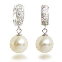 Creolen mit 12mm großen synth. Perlen, Ohrringe 925 Silber Rhodium mit glitzernden Zirkonia