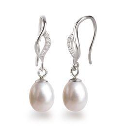 Perlenohrringe Ohrhänger aus 925 Silber Rhodium mit Süßwasserperle und glitzernden Zirkonia