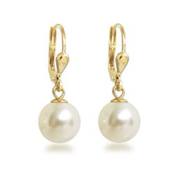 Ohrringe hochwertig vergoldet mit synth. Perle 10mm, Gold-Doublé Ohrhänger