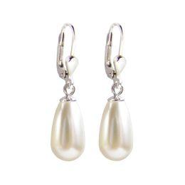 925 Silber Ohrringe mit synth. Perlen in Tropfenform, cremeweiß, Ohrhänger
