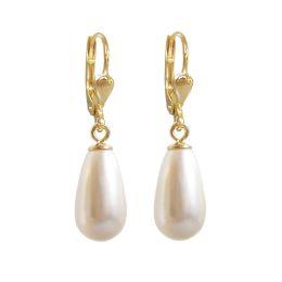 Hochwertig vergoldete Ohrringe mit synth. Perlen in Tropfenform, creme-weiß, Gold-Doublé Ohrhänger