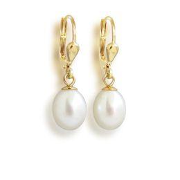 Perlenohrringe hochwertig vergoldet mit Süßwasser-Zuchtperlen in Tropfenform weiß, Gold-Doublé Ohrhänger