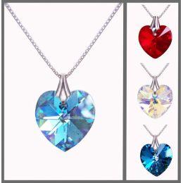 925 Silberkette mit kleinem Swarovski® Kristall Herz Anhänger 14mm