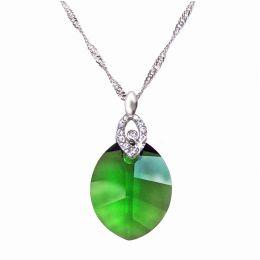 925 Silber Halskette mit Pure Leaf Kristall von Swarovski® in Fern Green, grün