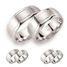 8mm breite Partnerringe aus 925 Silber rhodiniert teilmattiert und teilpoliert, wahlweise mit Kristallstein