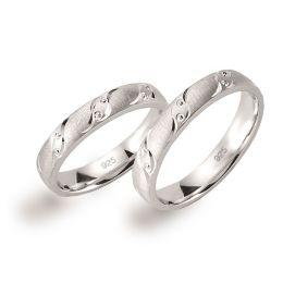 Partnerringe 925 Silber Rhodium mattiert und diamantiert, auch große Größen