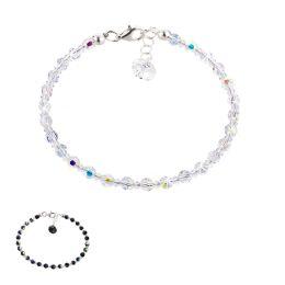 Funkelndes Armband aus 4mm Swarovski® Kristallperlen und 925 Silber