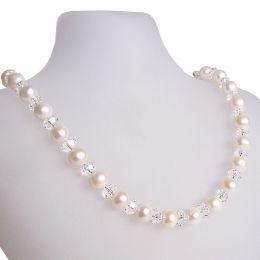 Perlenkette mit funkelnden Swarovski® Kristall, Süßwasser Zuchtperlen und 925 Silberschließe