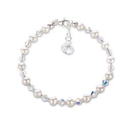 Feines Armband aus Süßwasserperlen, funkelnden Swarovski® Kristall Perlen und 925 Silber