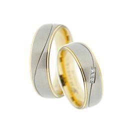 Bicolor Ring-Paar, Verlobungsringe, Freundschaftsringe, Partnerringe, Trauringe aus Titan Ri-TI-05