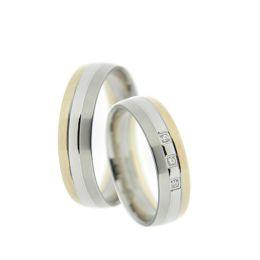 Bicolor Ringe Verlobungsringe, Freundschaftsringe, Partnerringe, Trauringe aus Titan mattiert poliert vergolde
