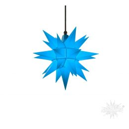 Original Herrnhuter Stern A4 aus Kunststoff für die Außen- und Innenverwendung, blau