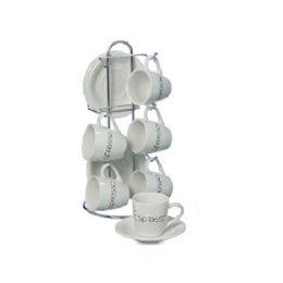 Tassenset Fresh 13-teilig Set Steingut weiss Espressotasse Tasse mit Untertasse