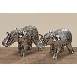Dekofigur Elefant silberfarben Dekoelefant Dekoration Indien Deko Statue Figur Dekoartikel Afrika