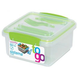 Lunchbox To Go mit Besteck grün Brotzeitbox Brotbox Set BPA-frei