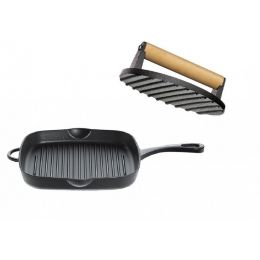Grillpfanne inkl. Fleischbeschwerer Bratpfanne Gusseisen Induktion Schmorpfanne Steakpfanne