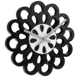 Wanduhr Flower schwarz Uhr Zeit Time Zeitmesser Blume Uhrzeit Uhren Clock