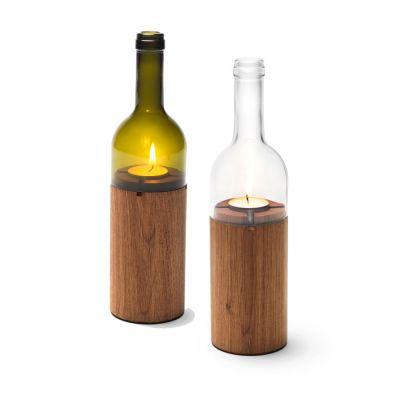 WeinLicht - Windlicht aus einer Weinflasche und Holz | 320473536