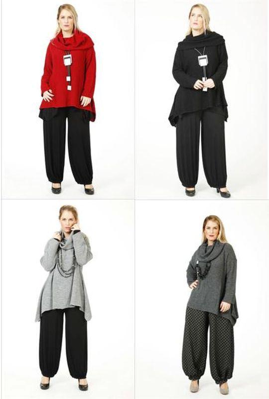 Pullover AKH Pullover Baumwolle Glockenform Hellblau