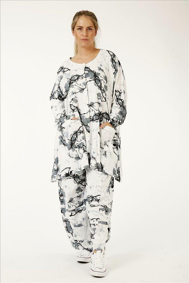weite glockige Lagenlook Blusen-Jacke weiß von AKH Fashion