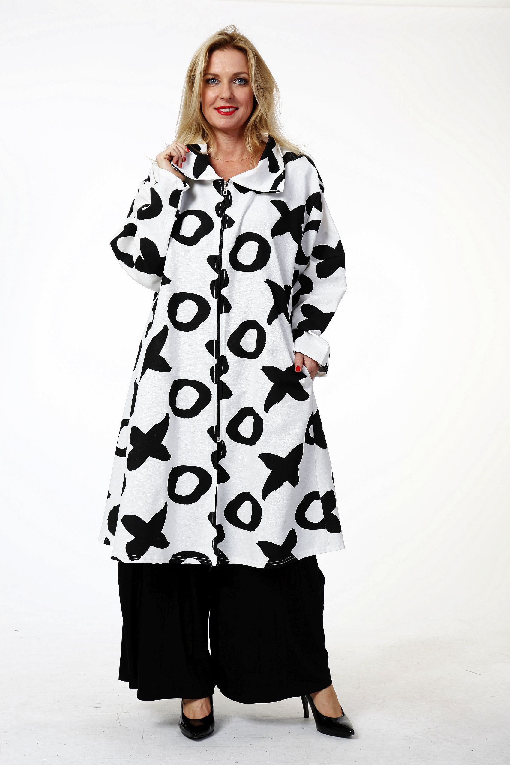 Lagenlook Kurzmantel long Jacke weiß-schwarz von AKH Fashion