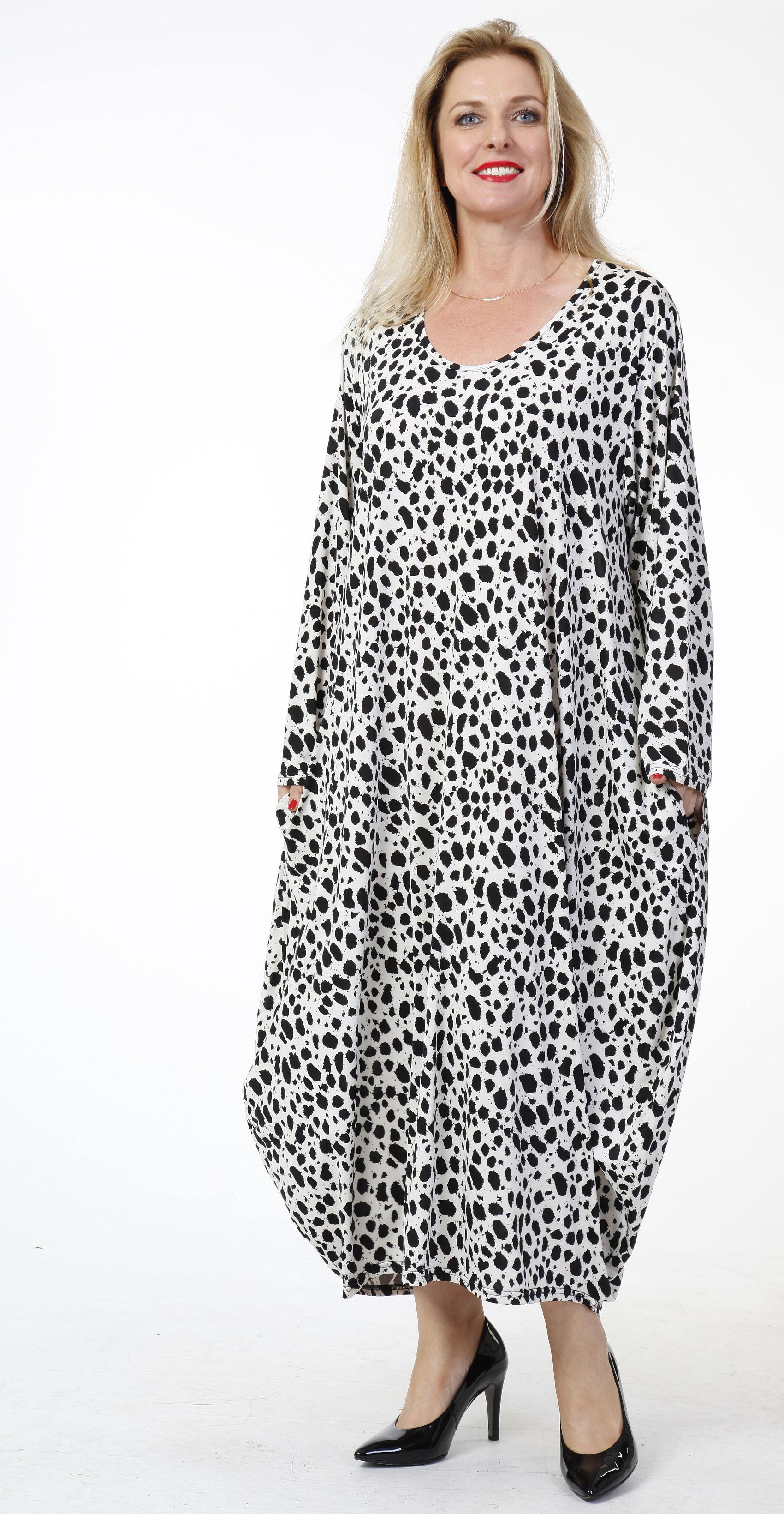 weiß-schwarz, einheitsgröße - lagenlook slinky-kleid weiß