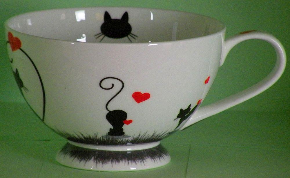 "JAMESON/&TAILOR Iglu-Teekanne 1,2 l Brillantporzellan Dekor /""Love Cats/"" Katzen"