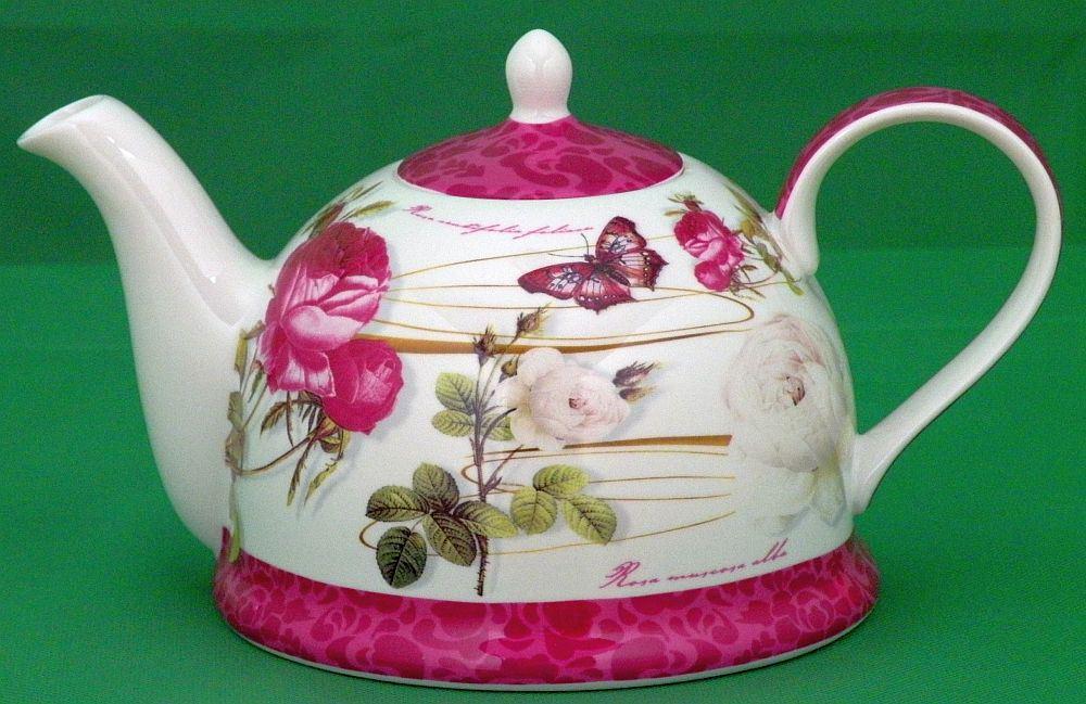 jameson und tailor teekanne dekor rose wei 1 2 liter brillantporzellan teegeschirr korallo. Black Bedroom Furniture Sets. Home Design Ideas