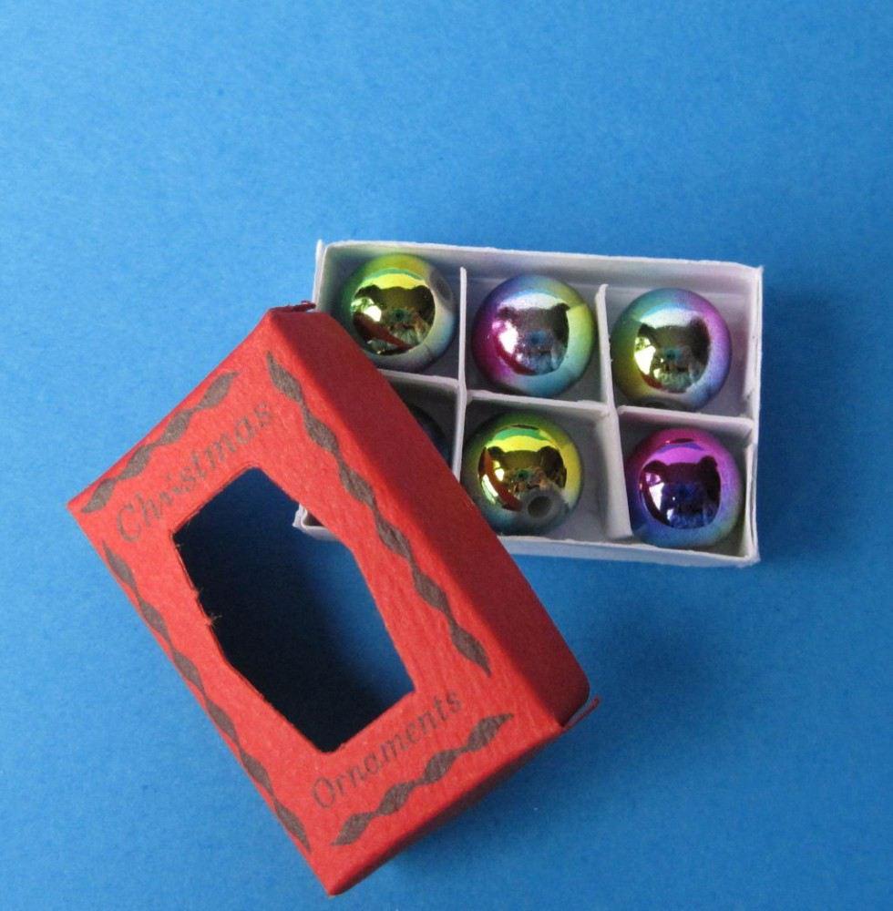 miniatur weihnachtskugeln 6 st ck im karton weihnachtliche. Black Bedroom Furniture Sets. Home Design Ideas