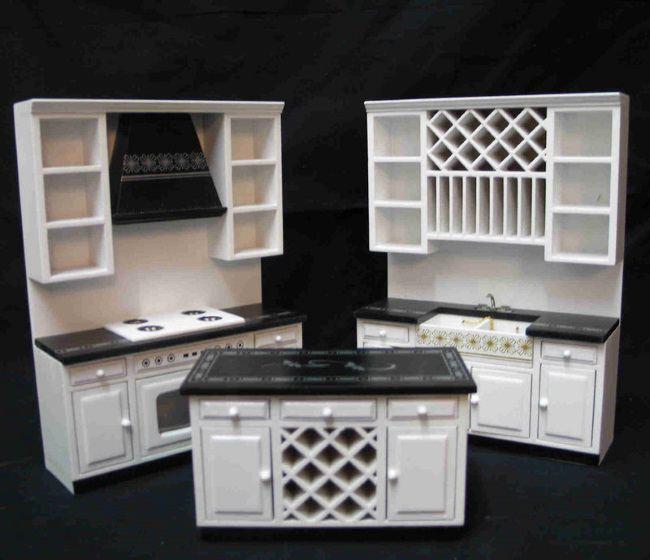 Edle Küche Einbaukueche Weiss Edel Modern 3 Teile Puppenhaus Möbel Miniatur  1:12
