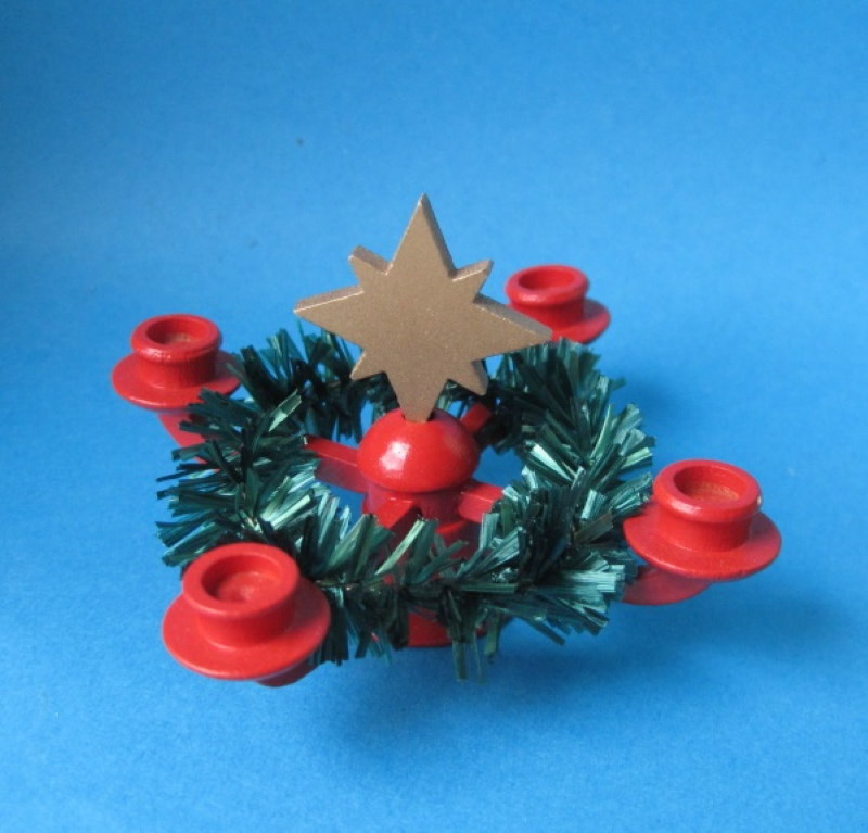 Leuchter mit Stern und Kranz, weihnachtliche Miniatur für ...