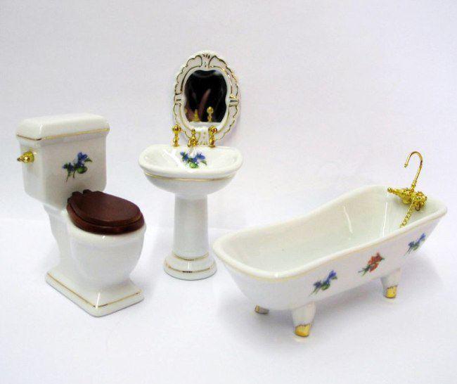 Miniatur 1:12 edles 4-teiliges Bad aus Porzellan Blumendekor Puppenhaus