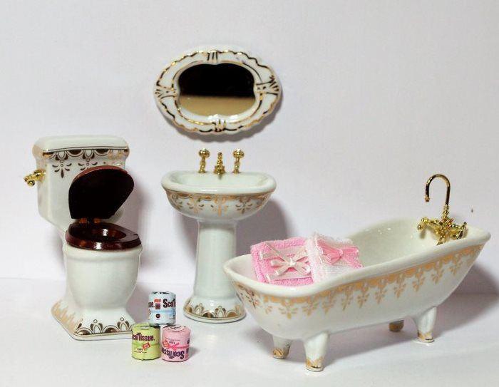 Badezimmer Weiss Gold 4 Teile Und Zubehör Puppenhaus Möbel Miniaturen 1:12  | VM94002