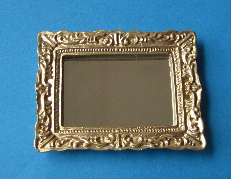 Spiegel im Rahmen verziert eckig Puppenhaus Dekoration Miniatur 1:12