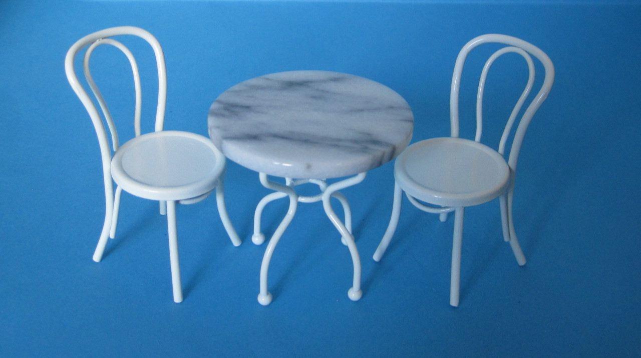 Tisch und 2 Stühle Metall Gartenmöbel Bistro Set Puppenhausmöbel ...