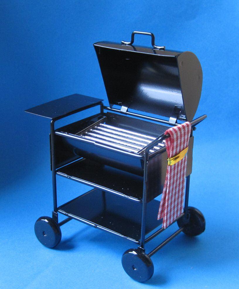 Puppenhaus mini american barbecue grill schwarz metall - Miniatur gartenmobel ...