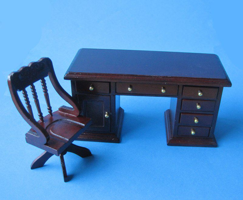 schreibtisch und stuhl mahagoni puppenhaus m bel miniaturen 1 12. Black Bedroom Furniture Sets. Home Design Ideas